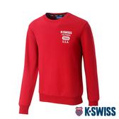 K-SWISS 1966 Sweatshirt圓領長袖上衣-男-深紅