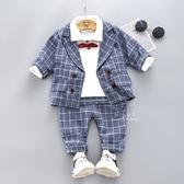 韓系格子西裝紳士套裝 藍色紅領結 童裝 兒童西裝 嬰兒服 兒童喜宴服裝