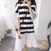 條紋荷葉袖拼接白裙洋裝 CC KOREA ~ Q15873