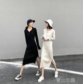 長洋裝 設計感polo衫洋裝女2020年秋季新款開叉長袖坑條針織中長裙子潮【青山市集】