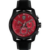Scuderia Ferrari 法拉利 PRIMATO 計時手錶-紅x黑框/44mm FA0830447