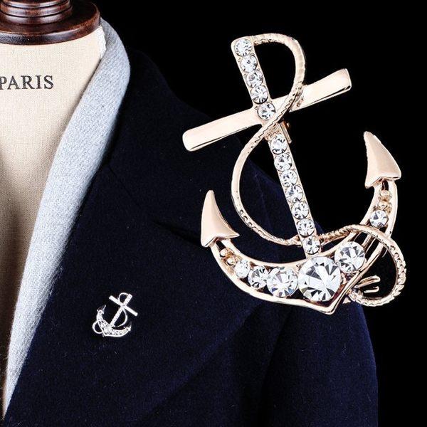 海軍風水晶水鉆船錨胸針男士胸花西裝配飾個性男西服別針徽章夢想巴士