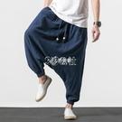 飛鼠褲夏季褲子男中國風吊襠垮褲寬鬆純色胖子大碼燈籠褲棉麻復古休閒褲
