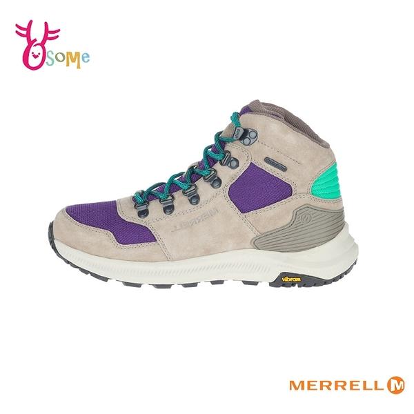 MERRELL登山鞋 女鞋 高筒復古登山鞋 避震黃金大底 防水透氣 戶外鞋 越野 耐磨 麂皮 ML500126 I8302#灰紫