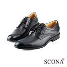 SCONA 全真皮 義式經典綁帶紳士鞋 黑色 0826-1