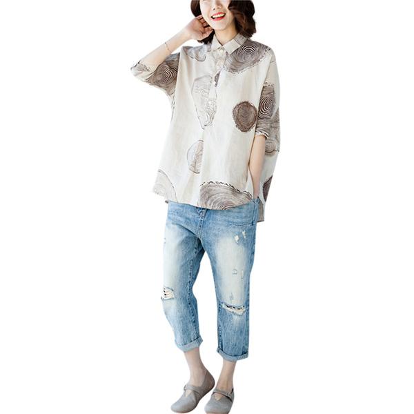 大碼女裝2020夏季新款文藝複古亞麻翻領半開襟年輪紋短袖襯衫上衣