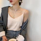 【免運】V領吊帶內搭性感真絲緞面小背心女夏寬鬆外穿打底衫黑色無袖上衣