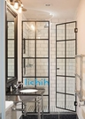 【麗室衛浴】工業風LS-1型夾具不銹鋼絞鏈+8mm強化玻璃淋浴拉門隔屏