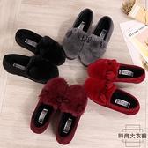 豆豆鞋時尚兔耳朵毛毛鞋厚底加絨保暖棉鞋【時尚大衣櫥】