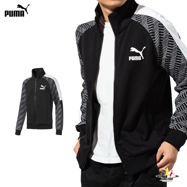 Puma T7 男 黑 立領外套 印花 長袖 外套 棉質 運動 休閒 健身 慢跑 外套 59595661