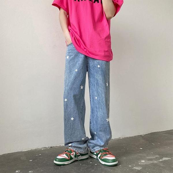 夏季牛仔褲男2021年新款潮牌高街vibe褲子ins潮直筒寬鬆休閒長褲 設計師