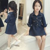*╮S13小衣衫╭*小中大童翻領時尚九分袖牛仔洋裝1070901