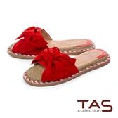 TAS 立體羊毛蝴蝶結平底涼拖鞋-熱情紅