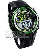 JAGA捷卡 多功能冷光 電子錶 黑x綠 男錶 學生錶 運動錶 防水手錶 M997-AF