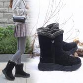 雪地靴女 誼嘉寶雪地靴女中筒冬季保暖加絨靴子2019新款東北棉鞋防滑平厚底 非凡小鋪
