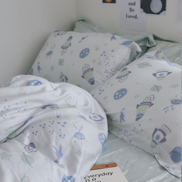 天絲 床包被套組(舖棉被套) 雙人【Planet】 涼感 親膚 100%tencel 萊賽爾纖維 翔仔居家