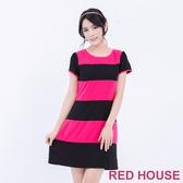 【RED HOUSE 蕾赫斯】圓領條紋拼接短袖洋裝(桃紅色)