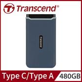 Transcend 創見 480GB ESD350C 軍規防震 SSD USB3.1/Type C 雙介面行動固態硬碟 固態行動硬碟 - 海軍藍