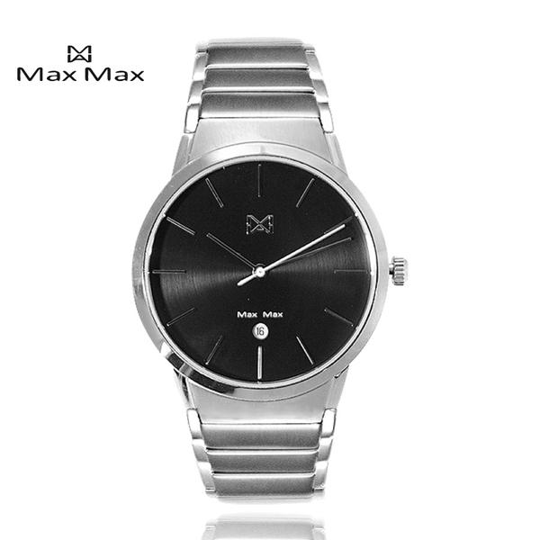 【完全計時】手錶館│MaxMax 原廠公司貨 黑時尚不鏽鋼帶情侶對錶 MAS7023-1 (大)