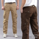 夏季薄款多口袋休閒褲男士寬鬆工裝褲直筒戶外工作褲大碼軍裝褲子 快速出貨
