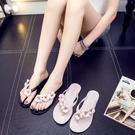 仙女拖鞋 夏季外出涼拖鞋女時尚花朵沙灘外穿韓版平底百搭水晶夾腳人字拖潮