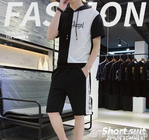 2019新款男t恤短袖套裝韓版潮流休閒青年連帽衣服夏季寬鬆兩件套      橙子精品