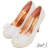 Ann'S Bridal甜蜜物語花朵刺繡紗質蝴蝶結防水台厚底跟鞋-白