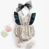 碎花拚色蝴蝶結綁帶包屁衣 爬爬服 連身裝 嬰兒服