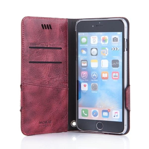 X-SHELL iPhone 6/6s 防電磁波真皮手機皮套酒紅色