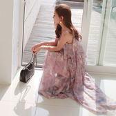 梨卡 - 浪漫飄逸花朵印花細肩帶雪紡連身裙連身長裙沙灘裙洋裝C6349