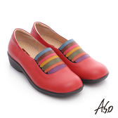 A.S.O 3E寬楦 壓紋牛皮繽紛鬆緊帶奈米氣墊鞋   紅