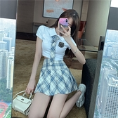 學院風jk制服格子半身裙女夏季高腰顯瘦a字百褶裙子2020新款短裙