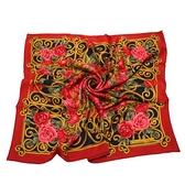 Christian Dior 華麗粉色玫瑰花(大)領巾(紅色) 179018-1