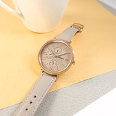 FOSSIL / ES5097 / 三眼三針 放射狀錶盤 閃耀晶鑽 星期日期 真皮手錶 灰x玫瑰金框 38mm