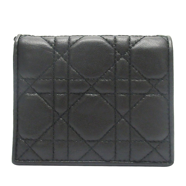 Dior 迪奧 黑色藤格紋羊皮Cannage縫線對折短夾(缺Logo掛飾) 43-MA-0178 【BRAND OFF】