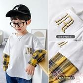 男童衛衣上衣假兩件秋款寬鬆套頭衫【聚可愛】