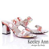 ★2019秋冬★Keeley Ann時尚膠片 熱帶巴西風高跟拖鞋(白色)-Ann系列