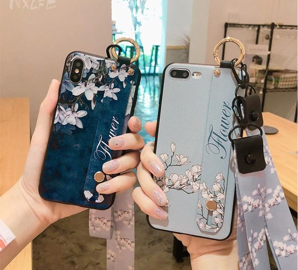 腕帶碎花 蘋果 6/6s/X 全包手機殼 Xs 蘋果 7/8 Plus 網紅同款 iPhone 7/8 個性創意 6/6s plus 矽膠保護套