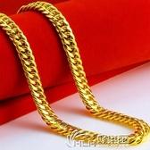 鍍金項鍊 越南沙金項鍊男鍍999假黃金鍊子仿真24k飾品戒指手鍊道具