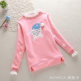 女童打底衫春款上衣長袖純棉兒童寶寶T恤保暖中大童加絨衣服  莫妮卡小屋