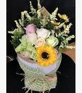 圓形花束玫瑰香皂花禮盒送女友媽媽閨蜜肥皂花生日禮物【向日葵花】