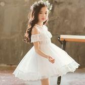 公主裙女童超洋氣超仙蓬蓬紗夏季韓版兒童表演服禮服漏肩洋裝子