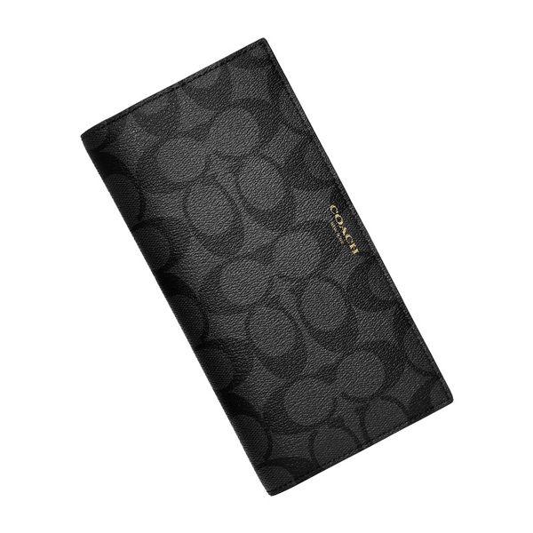 COACH 74599 男士經典logo皮夾黑色長夾錢夾