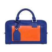 【台中米蘭站】全新品 LOEWE 羅威 經典AMAZONA 牛皮 撞色 手提斜背 二用包(藍/橘)