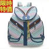 後背包-幾何圖形花色大容量時髦女帆布包2色67g25[巴黎精品]