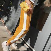 寬管褲 撞色高腰繫帶運動褲女學生寬鬆顯瘦休閒褲子 艾莎嚴選