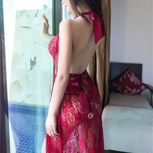 歐式超薄透明深V后背綁帶美背蕾絲長款長裙誘惑鏤空露乳開衫睡裙
