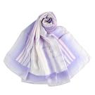 LANVIN渲染直紋草寫LOGO印花披肩絲巾(粉紫色)487999