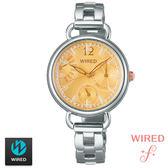 WIRED SEIKO 副牌 鵝黃錶盤蕾絲花邊逆跳手鍊女錶 30mm 5Y66-X007Y AN7027X1   名人鐘錶高雄門市