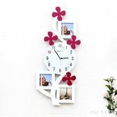 掛鐘客廳靜音相框時尚創意臥室兒童房藝術掛表個性時鐘墻鐘 FF5834【Pink 中大尺碼】